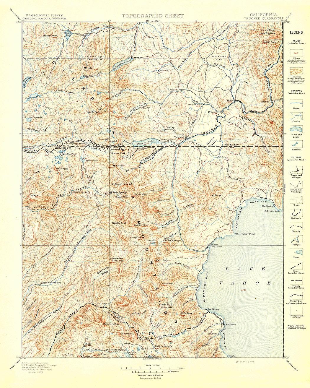 Truckee CA USGS Topographic Map 1895