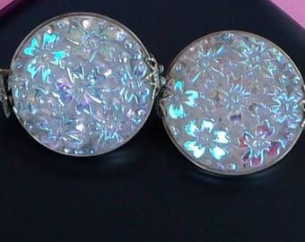 Czech Glass Button Clip On Earrings