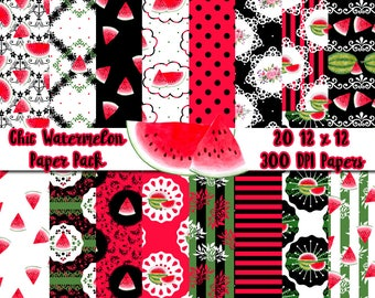 Yummy Watermelon Shabby Chic Paper Pack | 20 Digital Papers | Digital Paper | Printable Paper | Scrapbooking | Floral | Cute | Baby