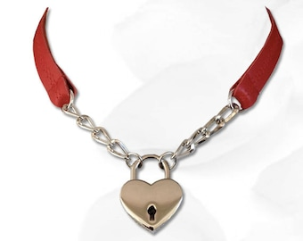 Sweetheart Heart Lock Collar Leather Submissive BDSM Daytime Slave Collar RED