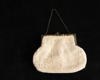 Vintage Edwardian cream beaded evening bag, Edwardian purse, metal framed bag, wedding purse, bridal bag, cream evening purse