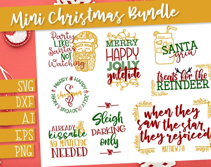 Bundle, Christmas, Svg, Dxf, Santa, Cricut, Silhouette, Cutting Files, Funny, Holiday, Christian, Sign, Wood Sign, Monogram, Mistletoe