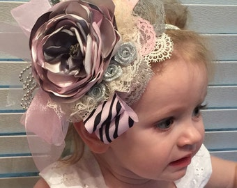Glamorous Vintage Pink And Gray Couture Headband , Infant , Baby , Baby Girl Couture Headband , Fascinator , Weddinng Headband , Photo  Prop