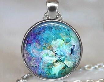Blue Dream Flower pendant, flower necklace, flower jewelry,  gardener's gift, gardening gift, flower art key chain key ring key fob keychain