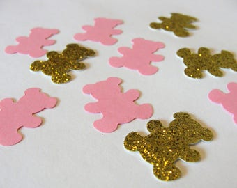 Teddy Bear Confetti, Gender Reveal Confetti, Pink and Gold Baby Shower Decor, 1st Birthday, Princess Party Decorations, Animal Die Cuts