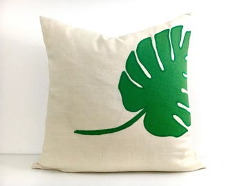 Leaf Pillow Cover - Ivory Linen Pillow with Green Linen Tropical Leaf Appliqué