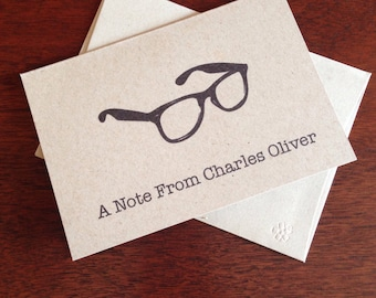 Glasses Personalized Note Cards (set of 10)