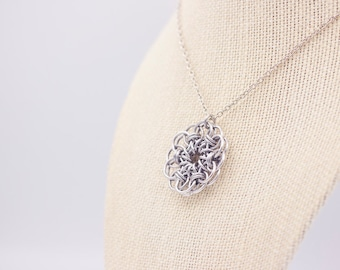 Aluminum Silver-Colored Celtic Chainmail Pendant Necklace