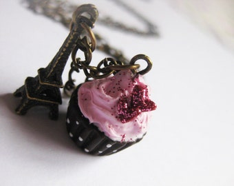 Strawberry Cupcake Necklace with Antique Eiffel Tower _ Polymer Clay _ Foodie Gift _ Food Jewelry _ Cupcake Collection