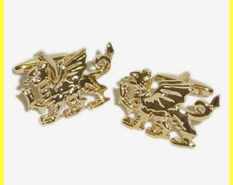 gold plated welsh dragon cufflinks gift boxed