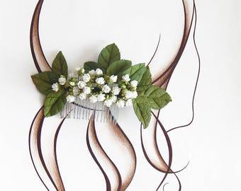 Baby breath hair comb Flower rustic hair clip Bridal hair vine Wedding hair piece Bridal headpiece White small flowers Floral hair comb