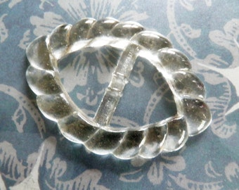 Signed Czech Clear Glass Slide Buckle
