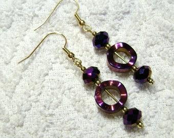 Purple Earrings - Disco Dangle Earrings - Earrings - Jewelry - Bright Colors - E-140