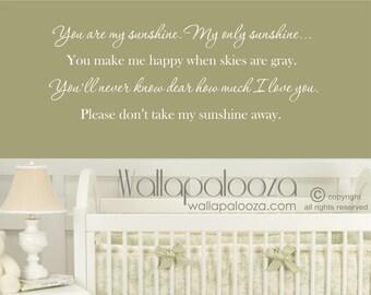 Nursery wall art - Nursery wall sticker - Nursery wall decor - Nursery wall decal - You are my sunshine - Wall quote - Wall art - baby room