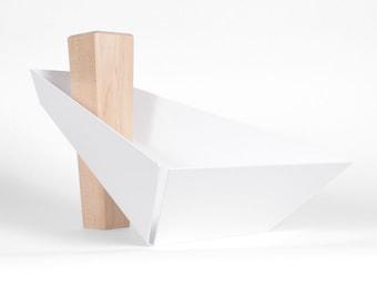 Margo | Maple & White  - Pedestal Tray, Fruit Bowl, Centerpiece