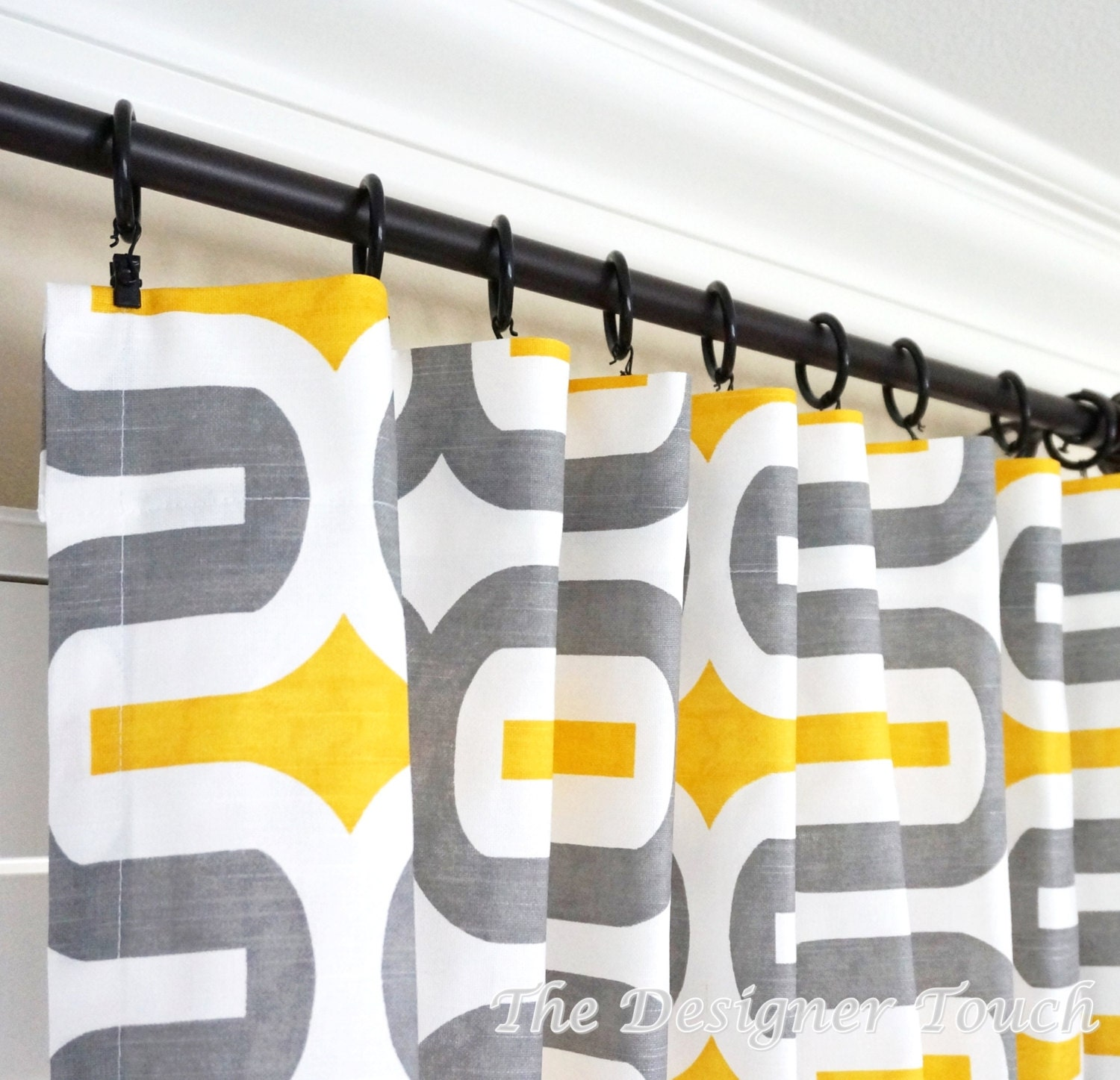 TWO Yellow Grey Curtain Panels Geometric Window Treatments