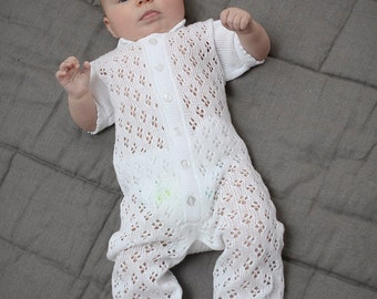 Baby clothes Baptism Christening clothes Lace Bodysuit Overall Coming home outfit Knit Baby clothes Baby shower lace overall Knit jumpsuit