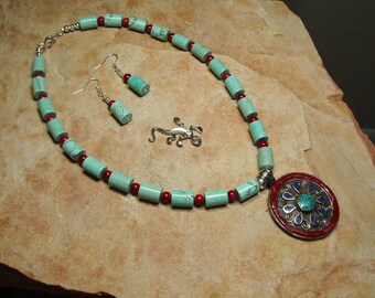 Native American Indian Handmade Inlay of Red Coral,Turquoise, Lapis Lazuli, Silver Pendant, 925 Silver Necklace and Earrings