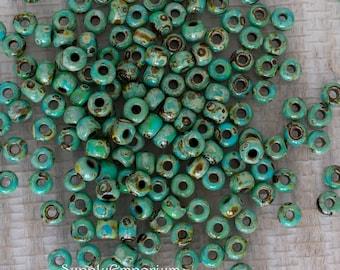 6/0 Miyuki Turquoise Picasso Seed Beads - 1161 - 16 grams - Miyuki 6-4514 Seafoam Green Matte - 6/0 Matte Seafoam Picasso