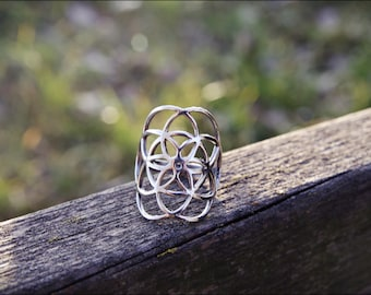 SEED OF LIFE Ring. Mandala Ring. Tribal jewelry. Silver ring. Sacred geometry. Yoga jewelry. Tribal. Ethnic. Gypsy style.