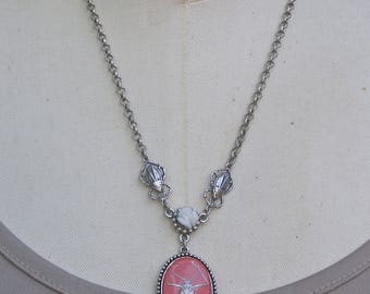 Scarab Beetle Necklace, Pink Insect Necklace, Silver Insect jewelry, Nature Inspired Jewelry