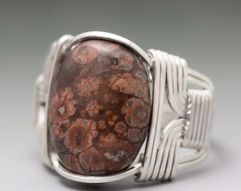 Leopard Skin Jasper Gemstone Cabochon Sterling Silver Wire Wrapped Ring - Made to Order and Ships Fast!