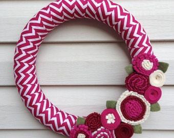 Spring Wreath - Summer Wreath - Chevron Wreath - Magenta Wreath - Felt Flower Wreath -Valentine Wreath -Mother's Day Wreath - Chevron fabric