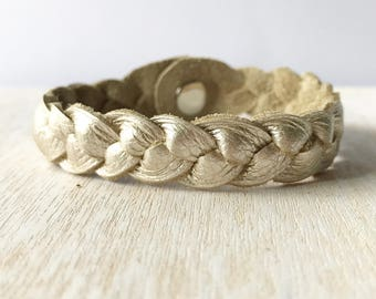 Braided leather bracelet - Champagne