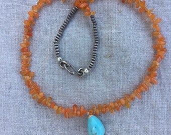 Sweet Carnelian and Turquoise necklace