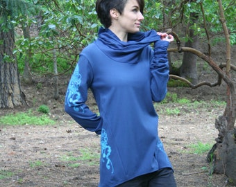 Cowl Neck Tunic Soy and Organic Cotton Jellyfish Screen Printed Navy Blue