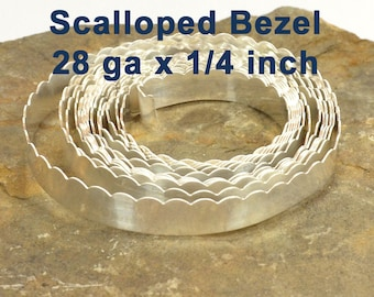 "28ga x 1/4"" Scalloped Bezel Wire - Fine Silver - Choose Your Length"