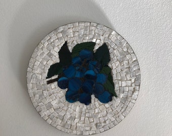 Blueberries on white marble - stained glass mosaic wall art