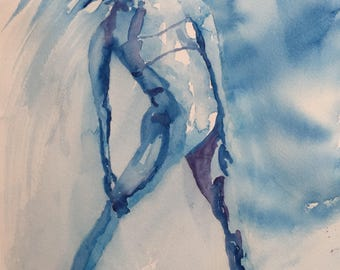 Blue Dancer- Original watercolor