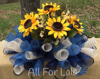 Headstone Saddle Memorial Flower Arrangement Deco Mesh Saddle Cemetery Flowers Sunflowers