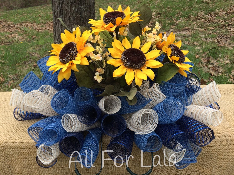 Headstone saddle memorial flower arrangement deco mesh saddle zoom reviewsmspy