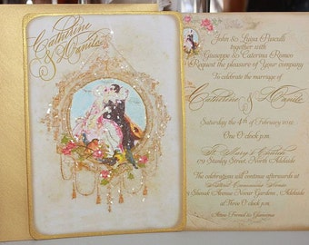 Pierrot Au Claire de la Lune Set of Six Wedding Invitations Metallic Gold Envelopes