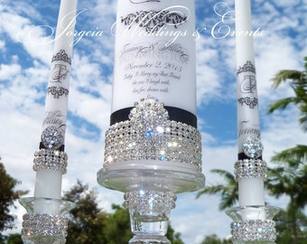 Pure Diamond  Damask Unity Candle Set.....Holders included