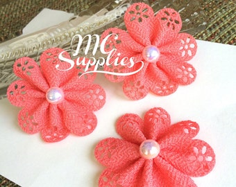 Eyelet flowers,headband accessories,coral flower,flower girl flowers,hair clip accessories,headband flower,baby headband flower,190