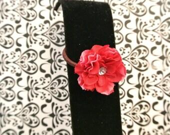 Big red flower ponytail hair tie