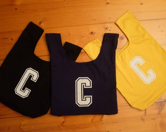 Centre netball bib bag reversible, unique netball team gift, gift for mum or bridesmaid - sport bag, book bag, market bag – custom available