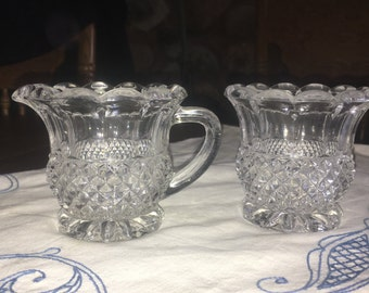 Vintage Crystal  Open Creamer And Sugar