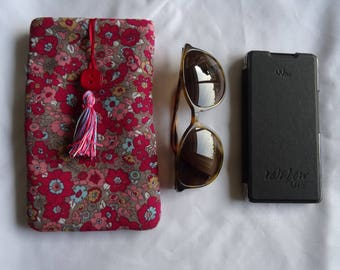 Glasses case and phone in liberty fabric quilted and lined;