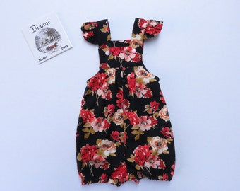 Baby Girls Short Overalls Black and Red Rose Flowers Toddler New Born Flutter Sleeve Size 00