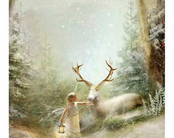 Fairy gift -  Christmas Art Print or Ready to hang Plaque or cards - Then one Foggy  Christmas Eve   12x16