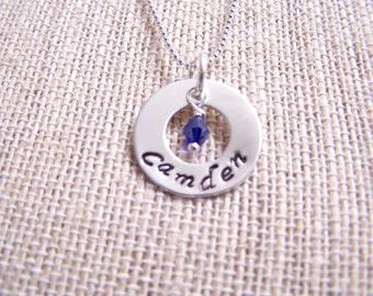 Sterling silver mothers pendants, Special Order, Hand stamped pendant, keepsake, name pendant