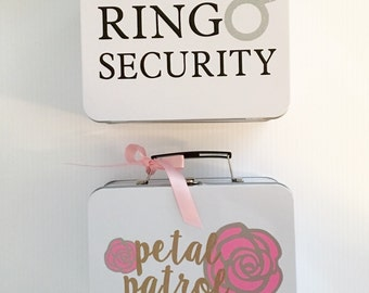 SET OF 2 Ring Security + Petal Patrol Boxes - Complete with Coloring Books with Crayons - Ring Bearer & Flower Girl Basket Alternatives