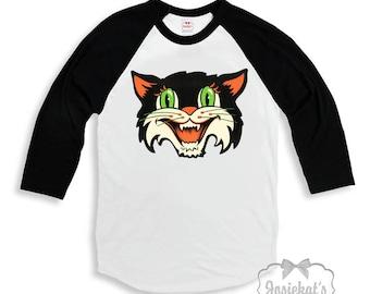 Halloween Shirt - Boy Scary Cat Shirt - Girl Baseball Halloween Shirt - Retro Halloween Cat Shirt - Sibling Infant Toddler Brother Sister