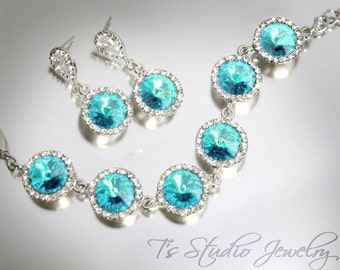 Light Turquoise Aqua Blue Rivoli Bracelet - Perfect Bridesmaid Gift - available in other colors
