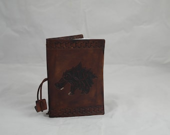 Celtic wolf leather reusable A6 notebook
