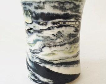 Marbleized vase, porcelain vase, handmade, OOAK